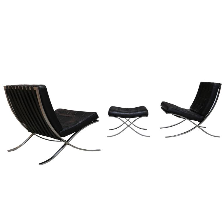 Pair of Knoll 1972 Barcelona Chairs with Ottoman by Mies Van Der Rohe For Sale