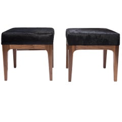 Pair Mid-Century Modern Style Laser Cut Pattern, Black Cowhide Walnut Ottomans