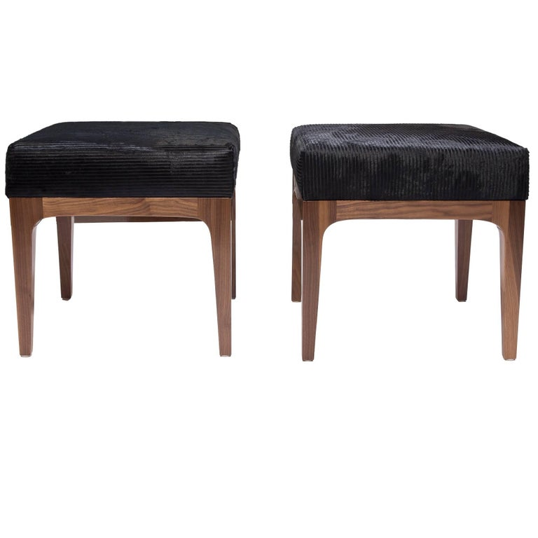 PAIR of Mid-Century Modern Style Laser Cut Black Cowhide Walnut Ottomans For Sale