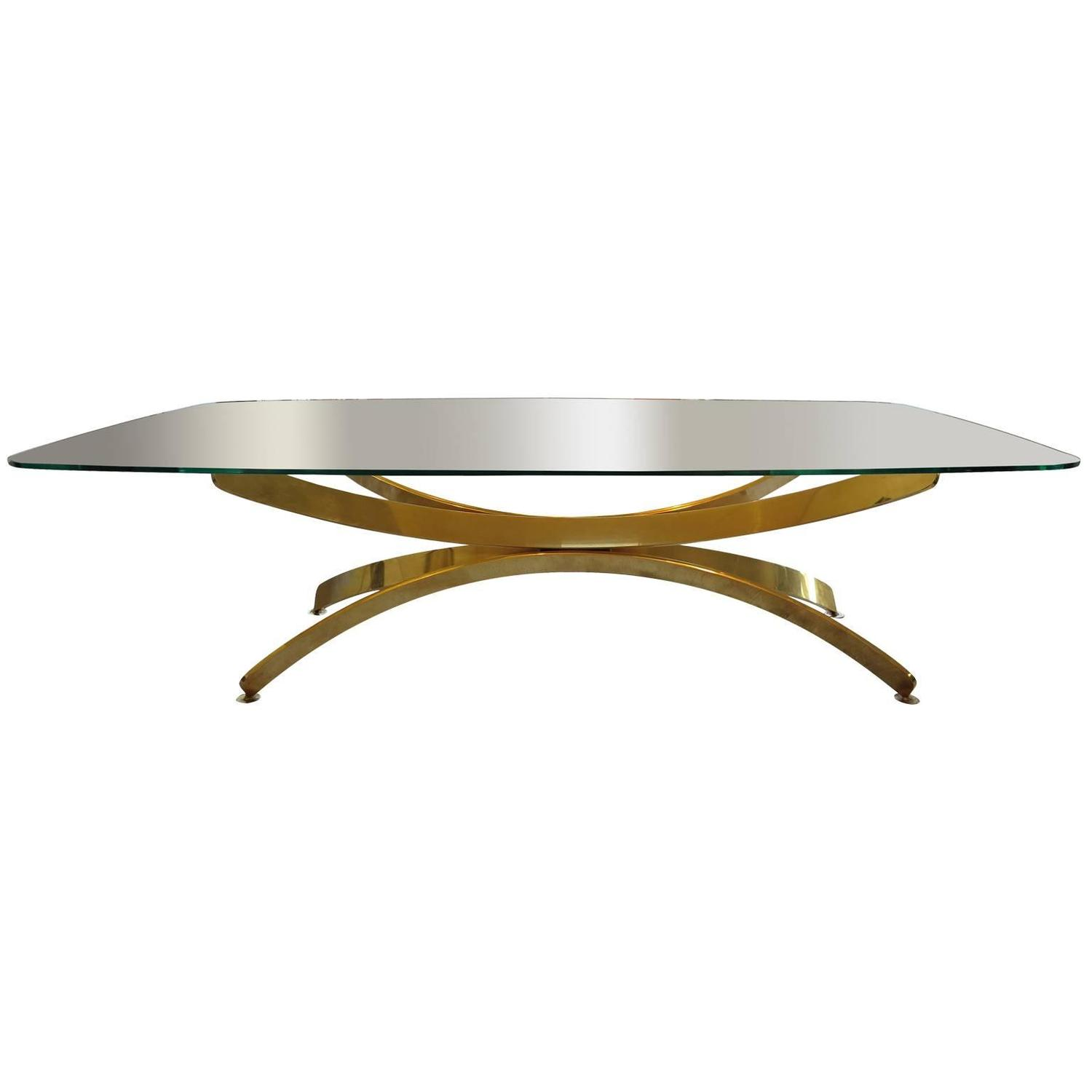 Vintage Brass and Glass Top Coffee Table 1960s For Sale