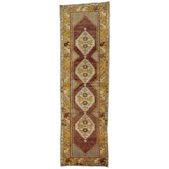 Vintage Turkish Oushak Runner with Traditional Style