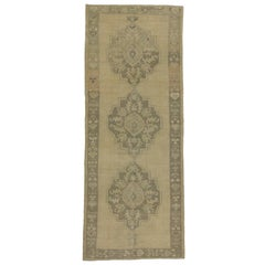 Vintage Turkish Oushak Carpet Runner with Modern Style in Muted Colors