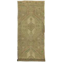 Vintage Turkish Oushak Carpet Runner with Minimalist Style in Muted Colors