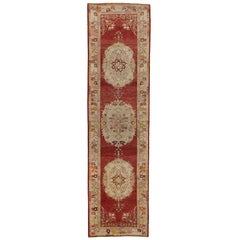 Vintage Turkish Oushak Hallway Runner with Rustic French Rococo Style