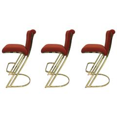 Set of Three Brass Bar Stools in the Style of Pierre Cardin