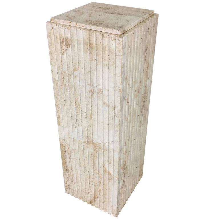 Dramatic Italian Travertine Display Pedestal For Sale