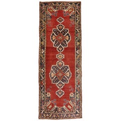 Vintage Turkish Oushak Carpet Runner with Jacobean Tudor Style