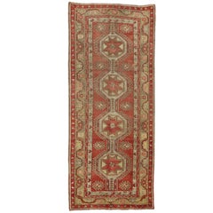 Vintage Turkish Oushak Gallery Rug, Wide Hallway Runner