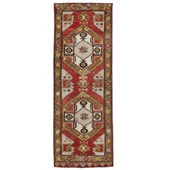 Vintage Turkish Oushak Carpet Runner with Mid-Century Modern Style