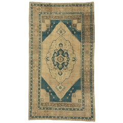 Vintage Turkish Oushak Rug with Modern Design and Cerulean Blue