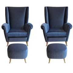 Pair of Armchairs and Footstools Attributed to Gio Ponti