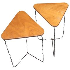 Mid-Century Modern French Pair of side tables