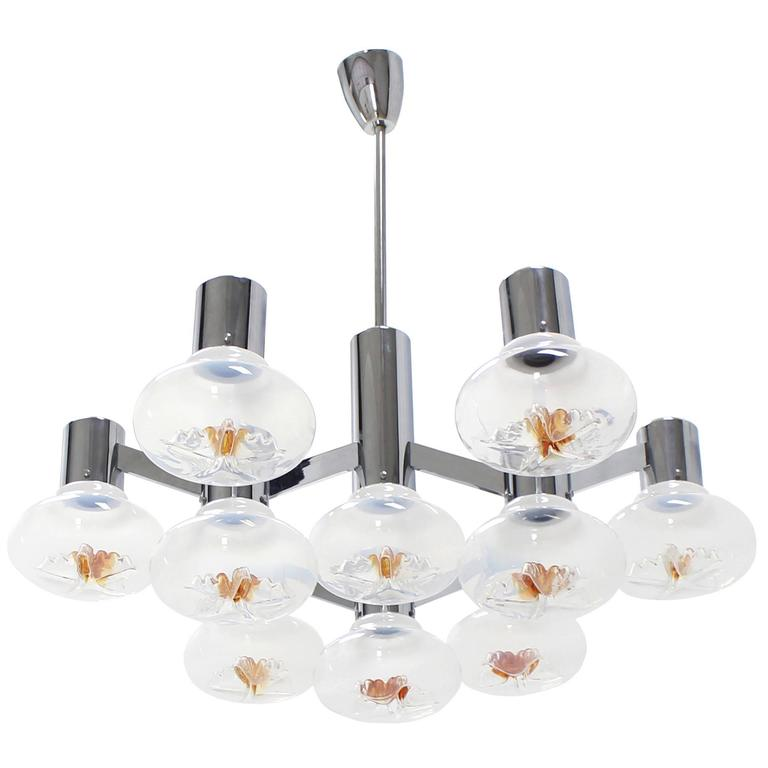 Large Chrome and Blown Glass Shades Light Fixture For Sale