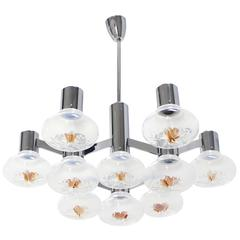 Large Chrome and Blown Glass Shades Light Fixture