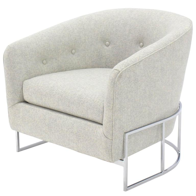 New Upholstery Barrel Back Lounge Chair by Milo Baughman