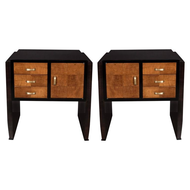 Pair of Art Deco Nightstands or End Tables in Burled Elm and Ebonized Walnut