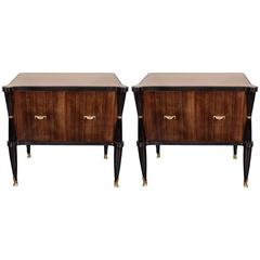 Pair of Mid-Century Modernist Nightstands or End Tables in Rosewood and Gilt