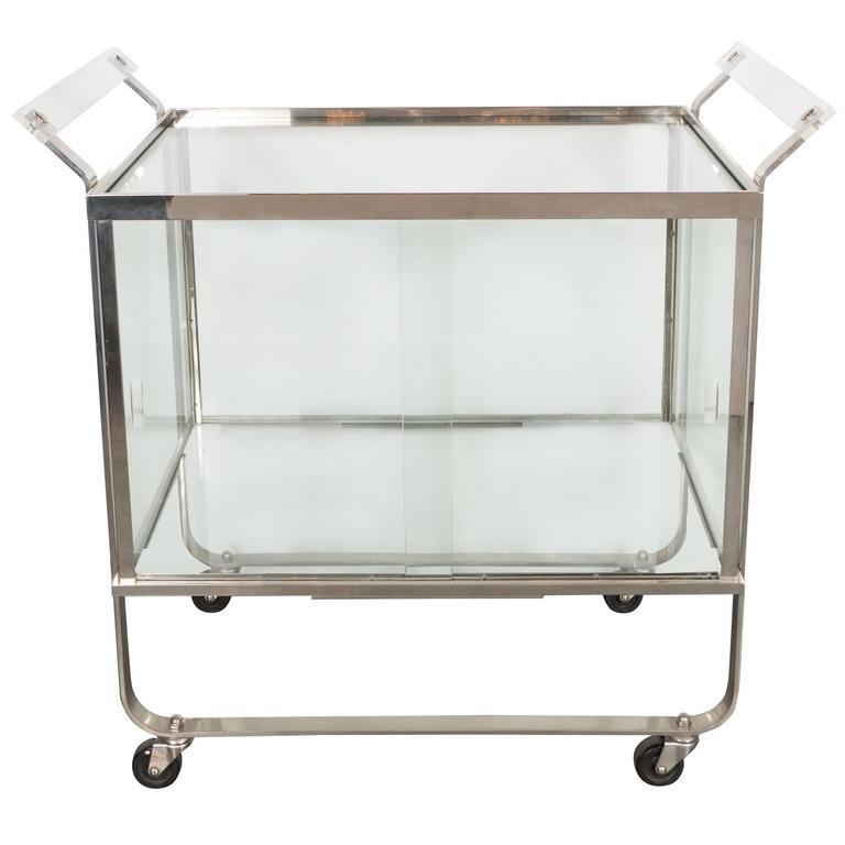 Art Deco Streamline Nickel and Glass Bar Cart by Treitel