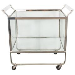 Art Deco Streamline Nickel and Glass Bar Cart by Treitel