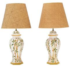 Pair of Bamboo Hand Decorated Table Lamps