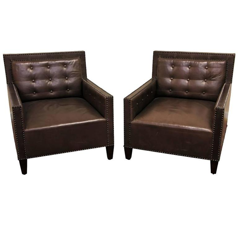 Pair Of Brown Leather Tufted Club Chairs With Nail Head