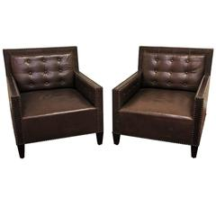 Pair of Brown Leather Tufted Club Chairs with Nail Head Trim