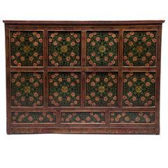 Large Antique Floral Painted Tibetan Cabinet