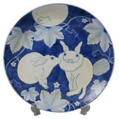 A Japanese Ceramic Plate with Rabbits Under the Full Moon