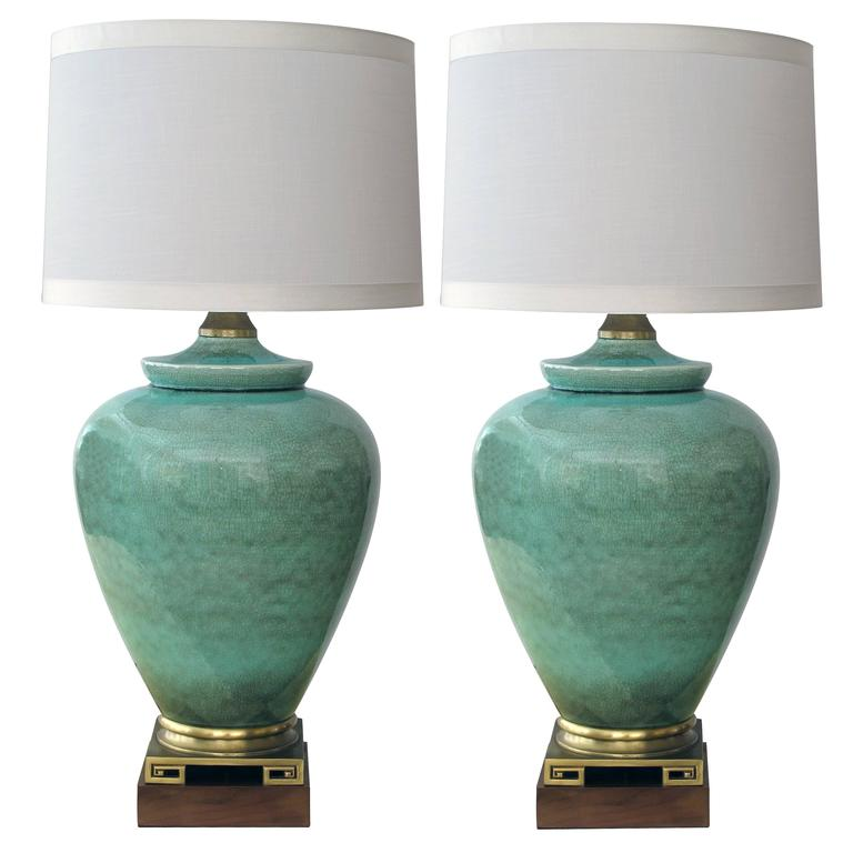 Over-Scaled Pair of American, 1960s Celadon Crackle-Glazed Lamps by Marbro