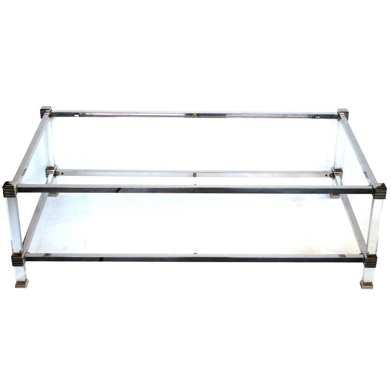 Glamorous French Pierre Vandel Nickel Lucite And Glass Coffee Table W Lower Shelf For Sale At
