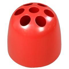 Artemide, Italian Red Plastic Dedalo Umbrella Stand
