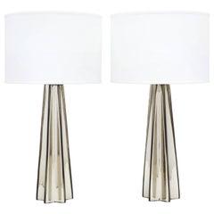 Murano Mercury Glass Pair of Star-Shaped Lamps