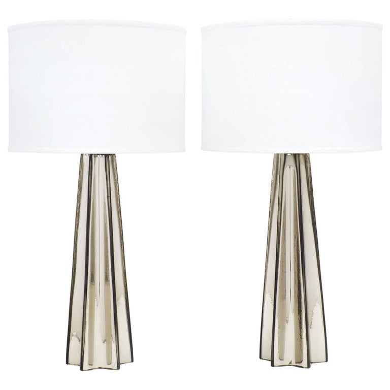 Murano Mercury Glass Pair Of Star Shaped Lamps For Sale At 1stdibs