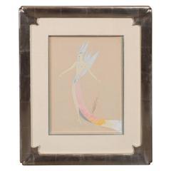 Original Art Deco Gouache on Paper by Erte in White Gold Custom Frame
