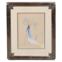 Original Art Deco Gouache on Paper by Erte in White Gold Custom Frame