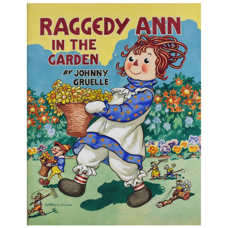 "Original Watercolor Cover Art ""Raggedy Ann In The Garden"" by Justin Gruelle For Sale"