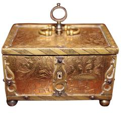 Engraved Miniature Brass Casket