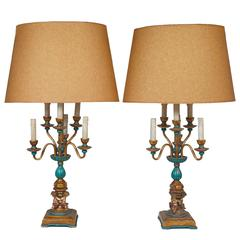 Exquisite Pair of French Inspired Candelabra Lamps with Four Cherubs