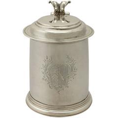 Britannia Standard Silver Quart Tankard, Antique William III