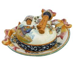 French Butter Dish with Man Playing Bagpipe Quimper