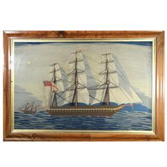 Sailor's Woolwork of the Royal Navy Frigate H.M.S. Warrior with White Ensign
