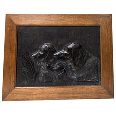 Black Painted Resin Panel of a Hunting Dogs Busts