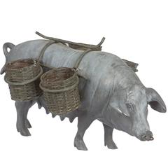 Pewter Pig with Woven Baskets