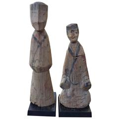 Ancient Pair of Chinese Han Carved Wood Attendants 2000 Years Old Collection
