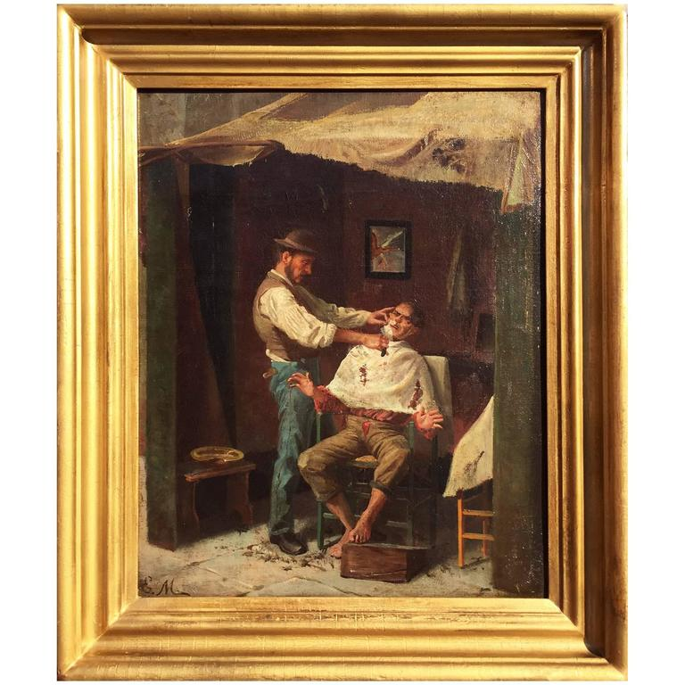 "19th Century Oil on Canvas ""A Barber Shop"" - Signed EW"