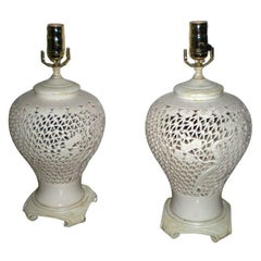 Pair Japanese White Ceramic Urn Table Lamps