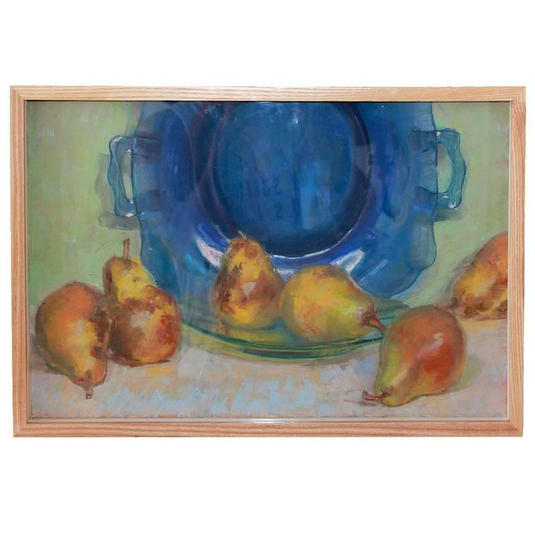 Still Life of Pears and Blue Bowl