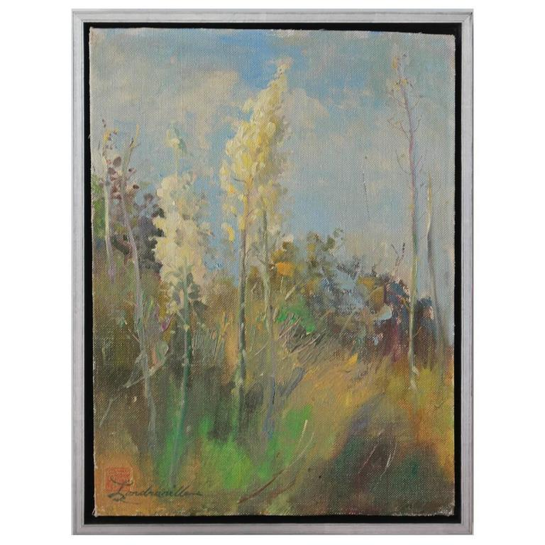 Silver Framed California Landscape Wild Flowers