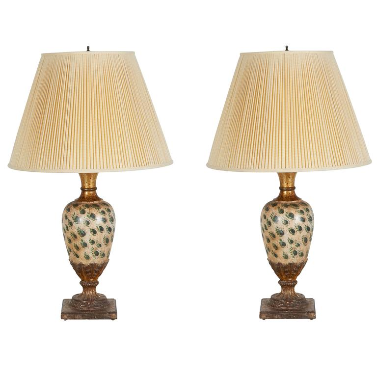 Antique Pair of Gilt and Peacock Feather-Painted Table Lamps