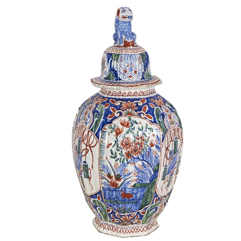 18th Century Delft Polychrome Covered Vase For Sale